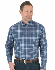 Wrangler Men's Long Sleeve Plaid Button Down Shirt - Navy (Closeout)