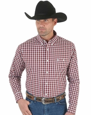 Wrangler Men's Long Sleeve Plaid Button Down Shirt - Red (Closeout)