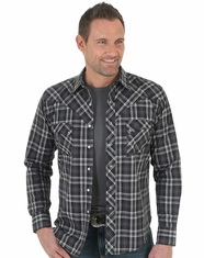 Wrangler Men's Long Sleeve Plaid Snap Shirt - Black (Closeout)