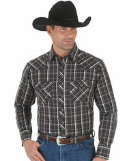 Wrangler Men's Long Sleeve Plaid Snap Shirt - Grey (Closeout)
