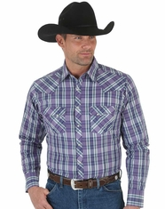 Wrangler Men's Long Sleeve Plaid Snap Shirt - Purple (Closeout)