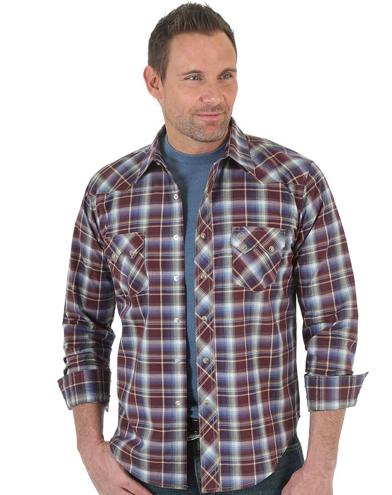 Wrangler Men's Long Sleeve Plaid Snap Shirt - Red (Closeout)