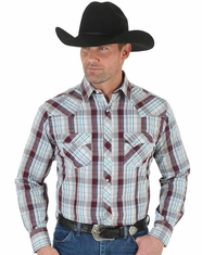 Wrangler Men's Long Sleeve Plaid Snap Shirt - Rust (Closeout)