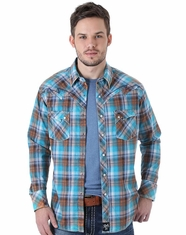 Wrangler Men's Long Sleeve Rock 47 Plaid Snap Shirt - Blue (Closeout)