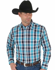 Wrangler Men's Long Sleeve Wrinkle Resist Plaid Snap Shirt - Blue (Closeout)