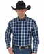 Wrangler Men's Long Sleeve Wrinkle Resist Plaid Snap Shirt - Navy (Closeout)