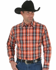 Wrangler Men's Long Sleeve Wrinkle Resist Plaid Snap Shirt - Orange (Closeout)