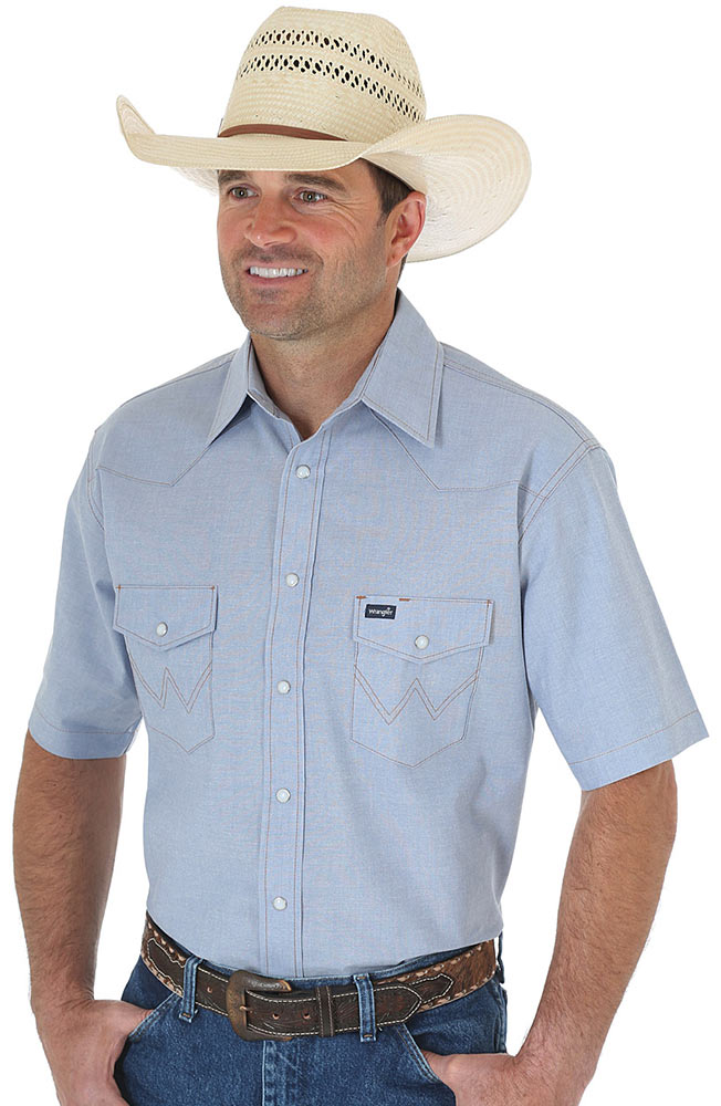Wrangler Men's Short Sleeve Chambray Western Work Shirt