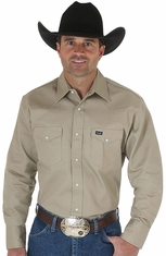 Wrangler Men's Classic Fit Firm Finish Long Sleeve Solid Snap Work Shirt � Khaki