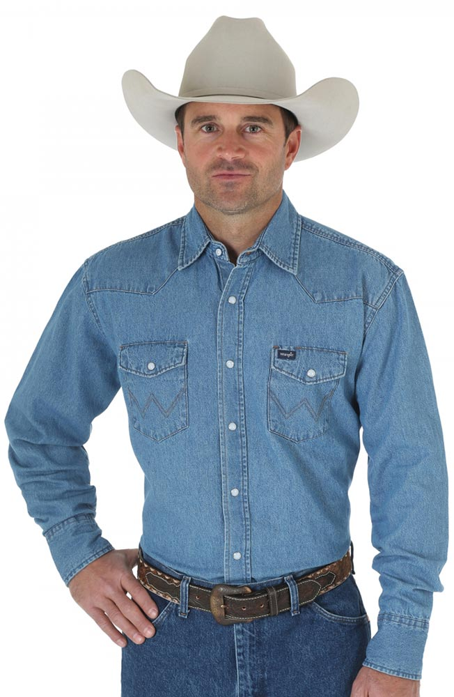 Wrangler Men's Western Denim Shirt - Stonewashed