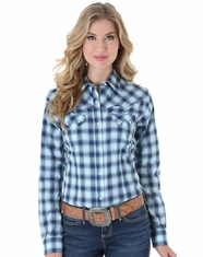 Wrangler Women's Long Sleeve Plaid Snap Shirt - Blue (Closeout)