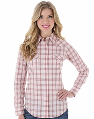 Wrangler Women's Long Sleeve Plaid Snap Shirt - Cream (Closeout)