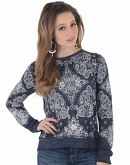 Wrangler Women's Long Sleeve Print Top - Navy (Closeout)