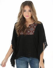 Wrangler Women's Short Sleeve Poncho Top - Black