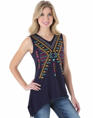 Wrangler Women's Sleeveless Embroidered Top - Navy (Closeout)