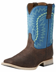 Ariat Relentless Elite Kids Square Toe Boots - Brown/Blue