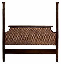 Water Hyacinth and Mahogany Royal Indies Headboard, King Size