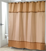 Avanti Braided Medallion Shower Curtain Ensemble-Gold