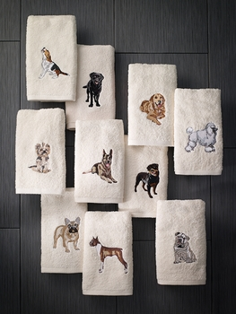 avanti top breed dog embroidered hand towels pkg of 2