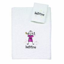 Bathtime Girl Bath Towel/Washcloth Set by Avanti