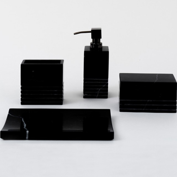 Ebony Black Marble Bath Accessories