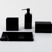 Carrara Ebony Black Marble Bath Accessories  By Caro Home<br>FREE SHIPPING