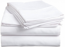 Cot Sheet Set with 2 Pillowcases-Cotton Rich T-200-White or Blue