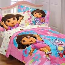 Dora the Explorer Exploring Together Girls Bedding