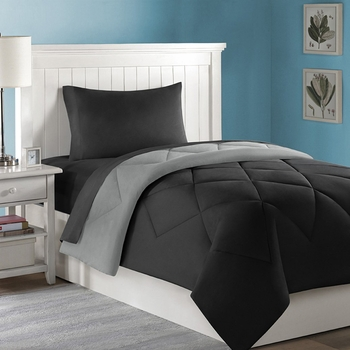 Dorm Bed & Bath Black/Gray 10pc Set for XL Twin College Beds