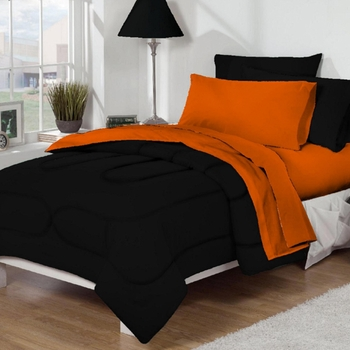 Dorm Bed Amp Bath Black Orange 10pc Set For Xl Twin College Beds