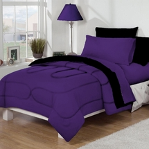 Dorm Bed & Bath Purple/Black 10pc Set for XL Twin College Beds
