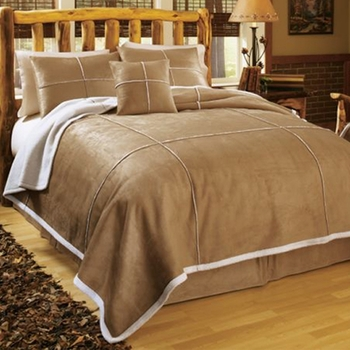 Faux-Suede/Shearling Comforter Set-Twin Size