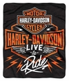 Harley-Davidson Dedication Bar & Shield Raschel Throw Blanket