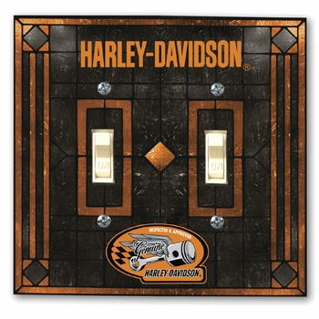 "Harley-Davidson ""Genuine"" Art Glass Double Switch Plate Cover"
