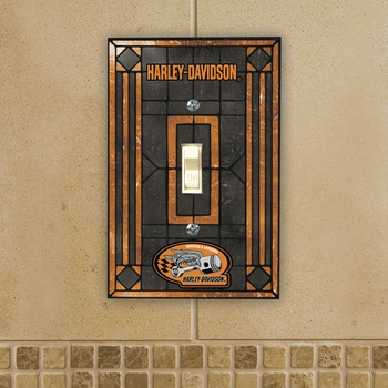 "Harley Davidson ""Genuine""  Art Glass Single Switch Plate Cover"