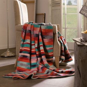 "Ibena Deluxe ""Aztec"" Oversized Throw, Cotton/Wool  59"" x 78"""