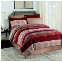 Martex Juliet Bed-In-A-Bag Red/Taupe