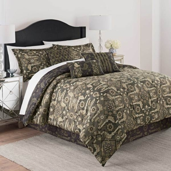 Martex Luxury Shiraz Black 7 Piece Comforter Set