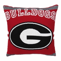 "NCAA University of Georgia ""Bulldogs"" 20"" Square Decorative Woven Pillow"