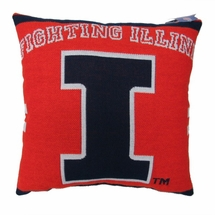 "NCAA University of Illinois ""Fighting Illini"" 20"" Square Decorative Woven Pillow"