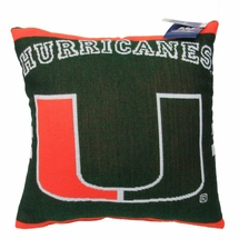 "NCAA University of Miami ""Hurricanes"" 20"" Square Decorative Woven Pillow"