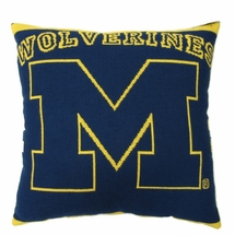 "NCAA University of Michigan ""Wolverines"" 20"" Square Decorative Woven Pillow"