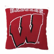 "NCAA University of Wisconsin ""Badgers""  20"" Square Decorative Woven Pillow"