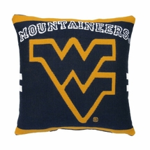 """NCAA West Virginia University """"Mountaineers""""  20"""" Square Decorative Woven Pillow"""