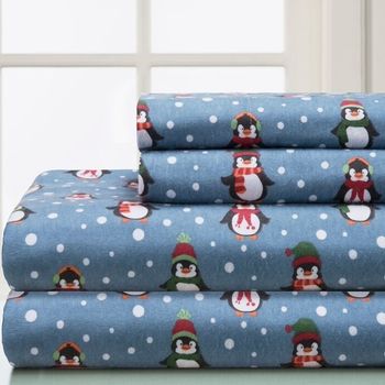 Penguin 100% Cotton Flannel Sheet Sets