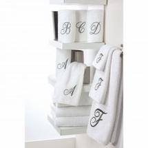 Premier Whilte/Silver Single Monogram Towels