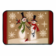 Tall Snowmen Holiday Bathroom Rug