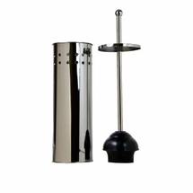 Taymor Stainless Steel Tall Toilet Bowl Plunger with Lid