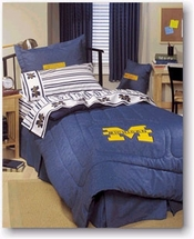 University of Michigan  100% Cotton Denim Bedding for Kids