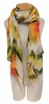 Banaris Cotton Scarf with Abstract Floral and Ikat Print - Tropicalia